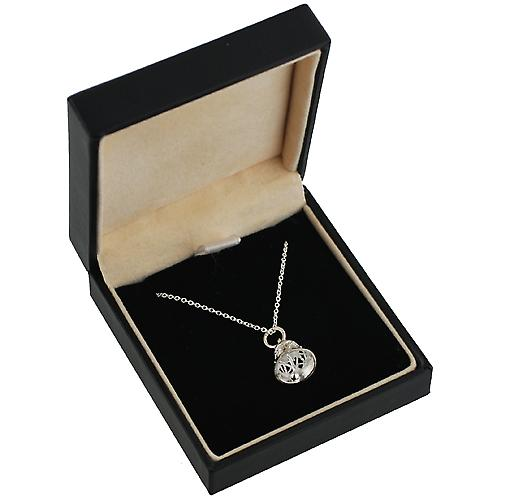 Silver 10x11mm Ringing Bell Pendant with a rolo Chain 14 inches Only Suitable for Children