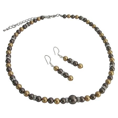 Handcrafted Swarovski Pearls Bright Gold Brown Chocolate Jewelry Set