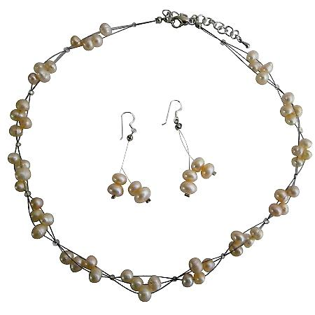 Peach Pearls Jewelry Set Peach Freshwater Pearl Choker Set Bridemaides Interwoven Wire Necklace Set w/ Dangling Earrings