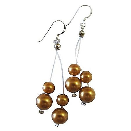 Golden Pearls Illusion Wire Dangling Marble Golden Pearls Earrings