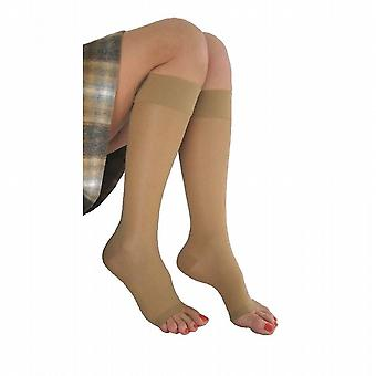 Pebble UK Signature Sheer Open Toe Compression Knee Highs [Style P230] Silky Nude  XL