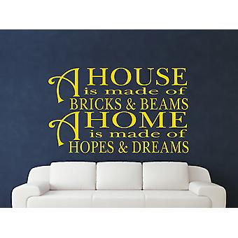 A House Is Made Of Bricks And Beams v2 Wall Art Sticker - Dark Yellow