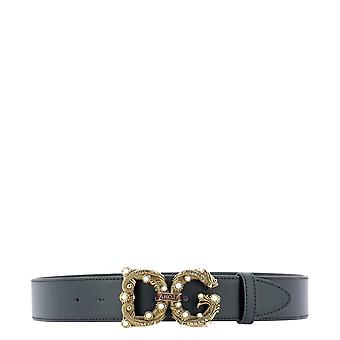Dolce E Gabbana Black Leather Belt