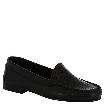 Leonardo Shoes Chaussures Chaussures Femmes apos;chaussures mocassins faites à la main en cuir de veau noir à openwork