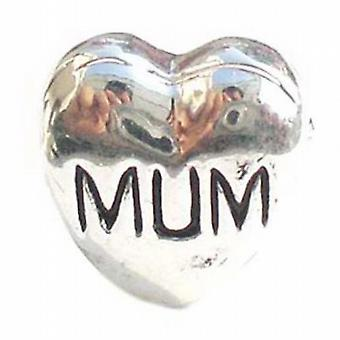 TOC BEADZ ' Mum ' Heart 11mm Funky Slide-On & Bead Mothers Day Gift