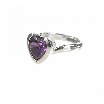 Cavendish French Sterling Silver and Amethyst CZ Heart Ring