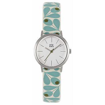 Orla Kiely | Womens Small Silver Case | Pale Blue Acorn Print Strap | OK2317 Watch