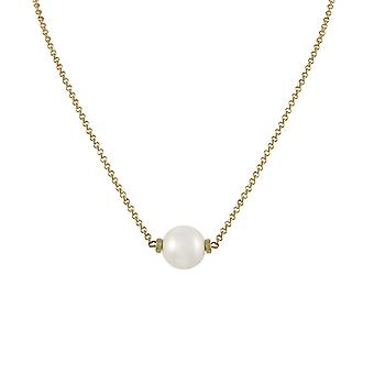 Eternal Collection Faithful White 12mm Shell Pearl Gold Tone Necklace