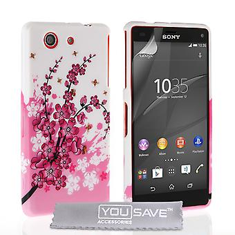 YouSave Sony Xperia Z4 kompakt blommig Bee silikonfodral Gel