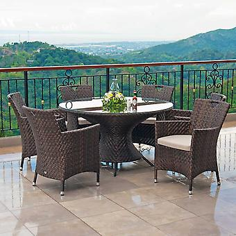 Alexander Rose Ocean Wave Rattan Bistro Set With Stacking Chair