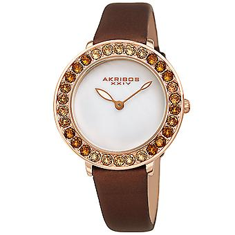 Akribos XXIV AKS191093BR Femmes-apos;s Quartz Ombre Swarovski Crystal Leather Strap Watch