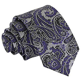 Sølv & lilla Royal Paisley slanke slips