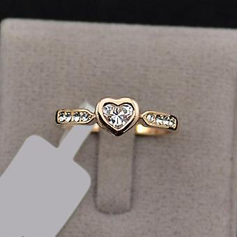 18K Gold Plated Cubic Zirconia Heart Ring