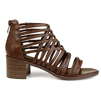 Brinley Co. Womens Deyona Faux Leather Caged Criss-Cross Heeled Sandals