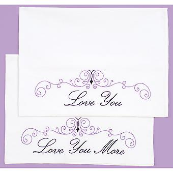 Stamped Pillowcases W/White Perle Edge 2/Pkg-Love You, Love You More 1600 633