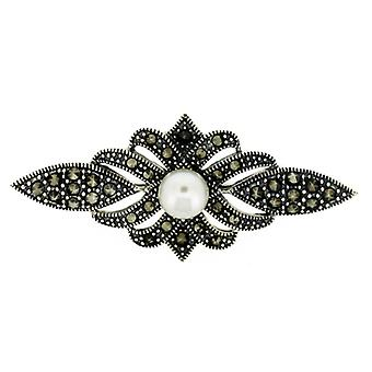 Brooches Store Marcasite, Sterling Silver Bar with Fresh Water Pearl Brooch