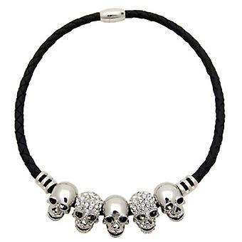 Butler & Wilson Five Skulls on Leather Cord Magnetic Necklace Silver