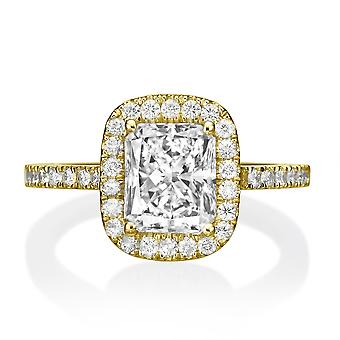 1.85 Carat E SI2 Diamond Engagement Ring 14K Yellow Gold Halo Vintage Radian