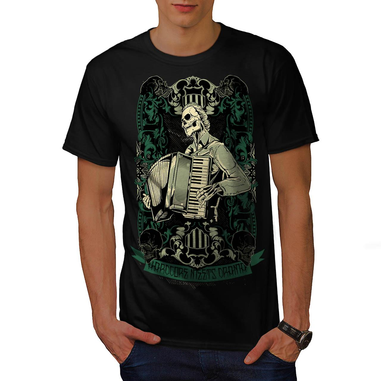 Hardcore nacht Piano accordeon mannen zwart T-shirt | Wellcoda
