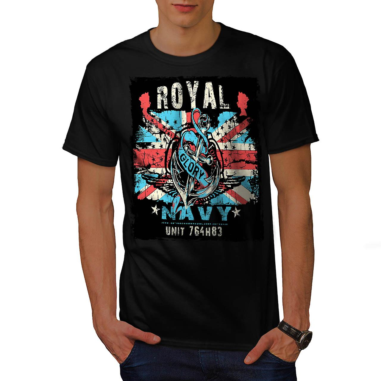 Royal Navy Glory UK British Rule Men Black T-shirt | Wellcoda