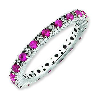 2.25mm Sterling Silver Prong set Rhodium-plated Stackable Expressions Polished Created Ruby and Diamond Ring - Ring Size