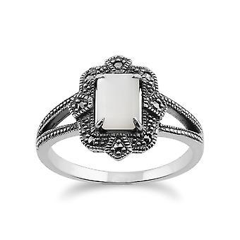 Gemondo 925 Sterling Silver Art Deco 1ct matka Pearl & markazytu pierścień