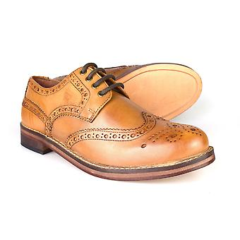 La paperasserie Meath Tan marron tout cuir Brogue formelle chaussures