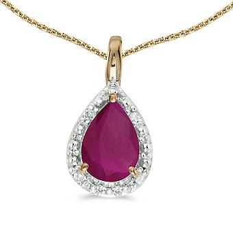 10k Yellow Gold Pear Ruby Pendant with 16