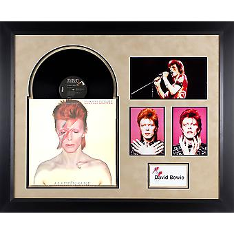 David Bowie - Alladin Sane - Vintage Vinyl Album Custom Framed Collage