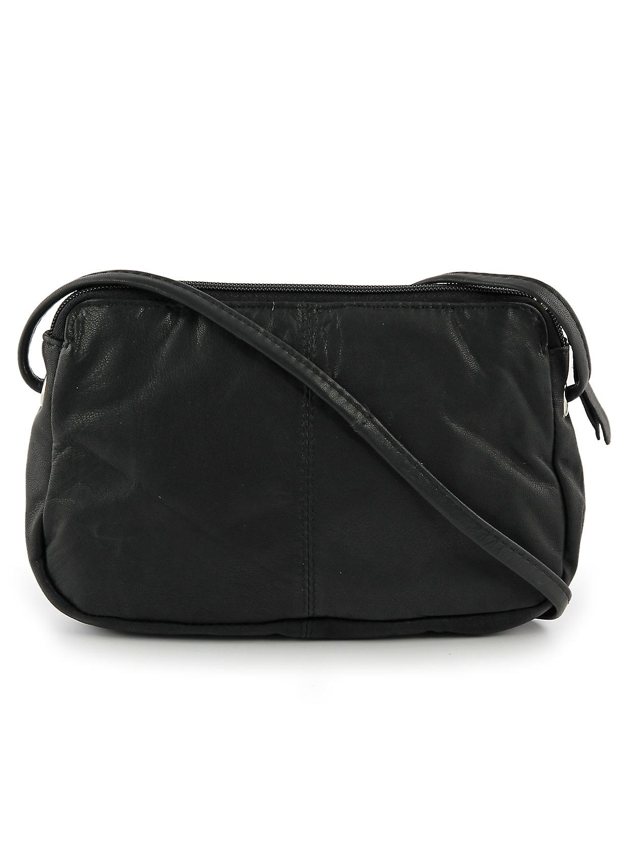 Rubi II Small Leather Cross Body Bag in Black