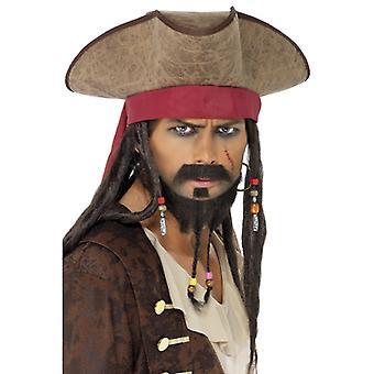 海賊帽子・ スパロウ カリビアン呪いドレッドヘア海賊帽子キャップ
