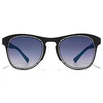 Police Half Rim Keyhole Sunglasses In Semi Matte Black Grey Blue Gradient Mirror
