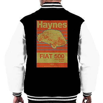 Haynes Workshop Manual Fiat 500 479cc Blue Distressed Stripe Men's Varsity Jacket