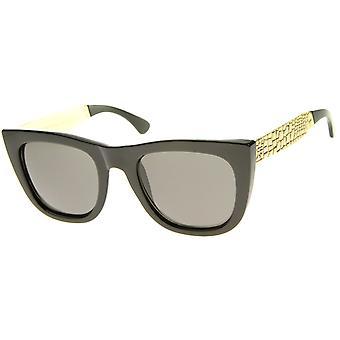 High Fashion Alligator Metal tempel fed kantede flad Top solbriller
