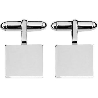 Orton West Sterling Silver Square 2mm Plate Cufflinks - Silver