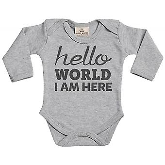 Spoilt Rotten Hello World I Am Here Long Sleeve Baby Grow