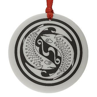 Handmade Celtic Fish Round Shaped Porcelain Christmas Ornament / Keepsake