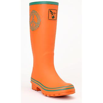 Evercreatures Ladies Celtic Peace Wellies Orange Turquoise Edging Various Sizes