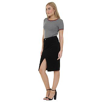 Knee-length Corduroy Pencil Skirt - Black Midi Skirt with stretch