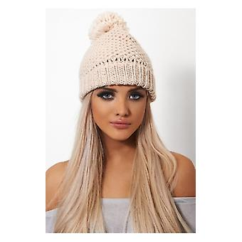 The Fashion Bible Nude Wool Bobble Hat