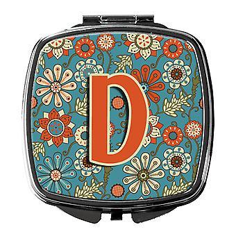 Carolines Schätze CJ2012-DSCM Buchstabe D Blumen Retro Blau Taschenspiegel