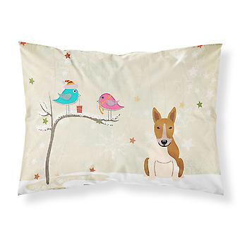 Christmas Presents between Friends Bull Terrier Red White Fabric Standard Pillow