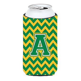 Letter A Chevron Green and Gold Tall Boy Beverage Insulator Hugger