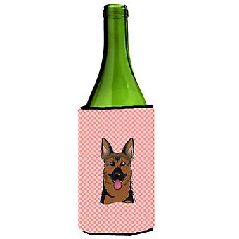 Checkerboard Pink German Shepherd Wine Bottle Beverage Insulator Hugger