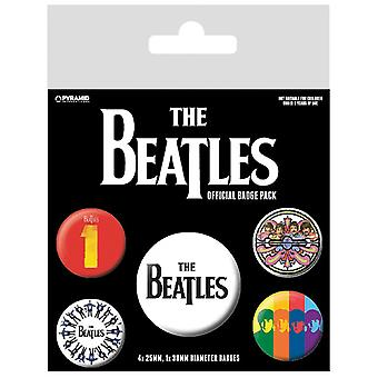The Beatles Badge Pack Drop T Band Logo Sgt Pepper new Official 5 X Button