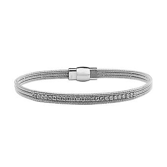 Sterling Silver Womens Tennis Bracelet Bangle in Premium Swarovski White Cubic Zirconia Stones with Magnetic Clasp