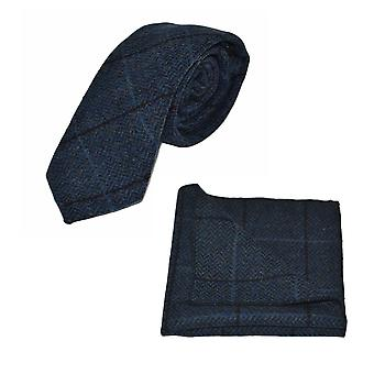 Luxury Aegean Blue Herringbone Check Tie & Pocket Square Set, Tweed