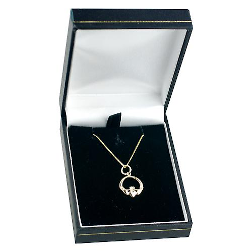 9ct Gold 14x14mm Claddagh Pendant with a curb Chain 16 inches Only Suitable for Children