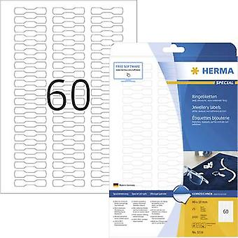 Herma 5116 Labels (A4) 49 x 10 mm Paper White 1500 pc(s) Permanent Jewellry labels Inkjet, Laser, Copier