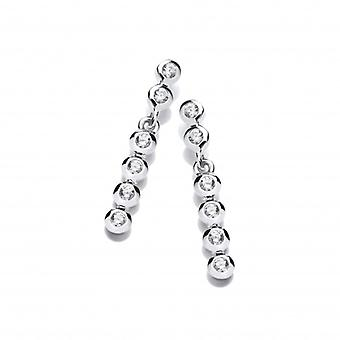 Cavendish French Swaying Silver and CZ Bubble Drop Earrings